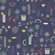 Lewis & Irene - Cocktail Party - 6530 - Cocktails & Modern Floral on Navy - A350.3 - Cotton Fabric